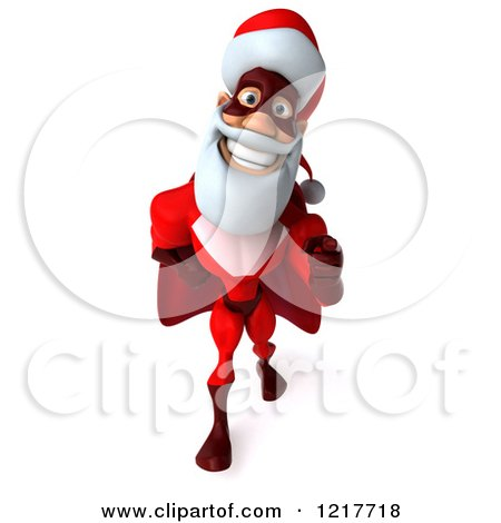 3d Super Hero Santa Walking and Pointing 2 Posters, Art Prints