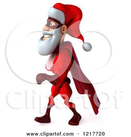 3d Super Hero Santa Walking 2 Posters, Art Prints