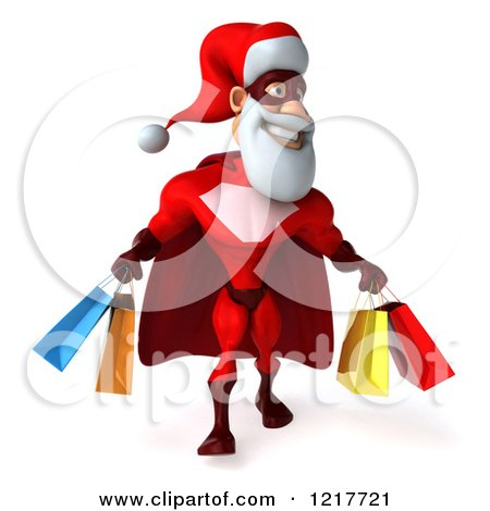 Clipart of a 3d Super Hero Santa Carrying Shopping Bags - Royalty Free Illustration by Julos