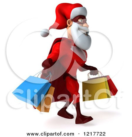 Clipart of a 3d Super Hero Santa Carrying Shopping Bags 2 - Royalty Free Illustration by Julos