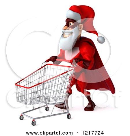 Clipart of a 3d Super Hero Santa Pushing a Shopping Cart - Royalty Free Illustration by Julos