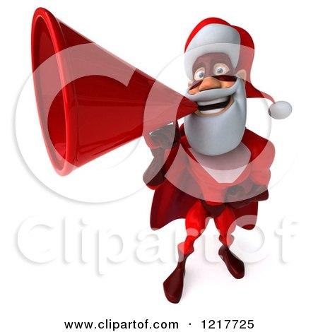 3d Super Hero Santa Using a Megaphone 3 Posters, Art Prints