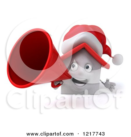Clipart of a 3d Christmas White House Using a Megaphone - Royalty Free Illustration by Julos