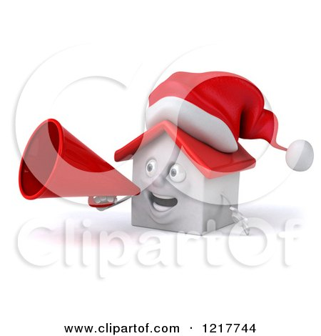 Clipart of a 3d Christmas White House Using a Megaphone 2 - Royalty Free Illustration by Julos