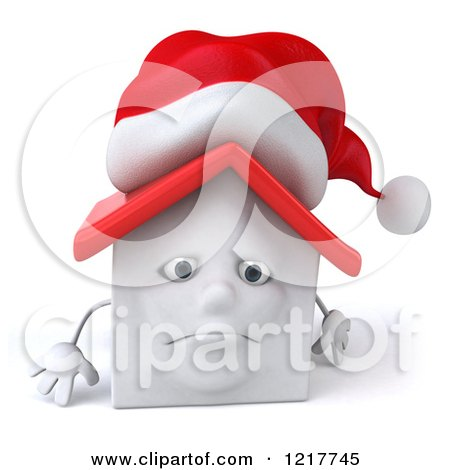 Clipart of a 3d Christmas White House Pouting - Royalty Free Illustration by Julos