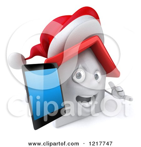 Clipart of a 3d Christmas White House Holding a Smartphone - Royalty Free Illustration by Julos