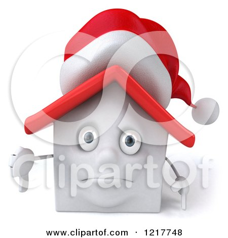 Clipart of a 3d Christmas White House Holding a Thumb down - Royalty Free Illustration by Julos