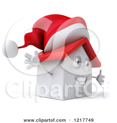 Clipart of a 3d Christmas White House with Open Arms - Royalty Free Illustration by Julos