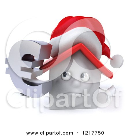 Clipart of a 3d Christmas White House Holding a Euro Symbol and a Thumb down - Royalty Free Illustration by Julos