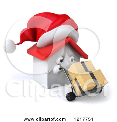 Clipart of a 3d Christmas White House Moving Boxes on a Dolly - Royalty Free Illustration by Julos