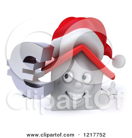 Clipart of a 3d Christmas White House Holding a Euro Symbol and Thumb up - Royalty Free Illustration by Julos