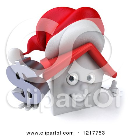 Clipart of a 3d Christmas White House Holding a Dollar Symbol and Thumb up - Royalty Free Illustration by Julos
