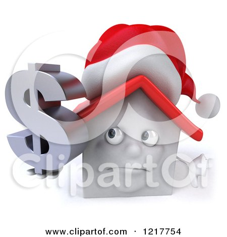 Clipart of a 3d Christmas White House Holding a Dollar Symbol and Thumb down - Royalty Free Illustration by Julos