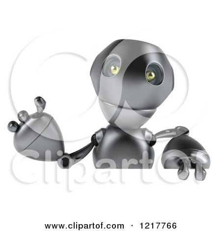 Clipart of a 3d Silver Robot Mascot Waving over a Sign - Royalty Free Illustration by Julos
