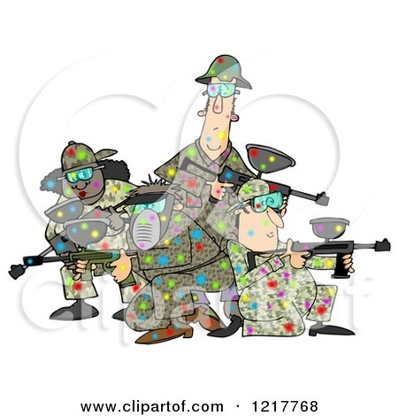 Clipart of a Paintball Team Covered in Colorful Splats - Royalty Free Illustration by djart