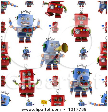 Clipart of a Seamless Background of Red and Blue Vintage Robots on White - Royalty Free Illustration by stockillustrations