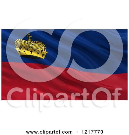 Clipart of a 3d Waving Flag of Liechtenstein with Rippled Fabric - Royalty Free Illustration by stockillustrations