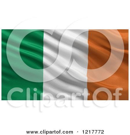 Clipart of a 3d Waving Flag of Ireland with Rippled Fabric - Royalty Free Illustration by stockillustrations