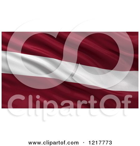 Clipart of a 3d Waving Flag of Latvia with Rippled Fabric - Royalty Free Illustration by stockillustrations