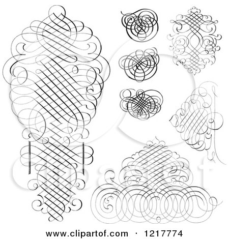Clipart of Black and White Ornate Swirls - Royalty Free Vector Illustration by BestVector
