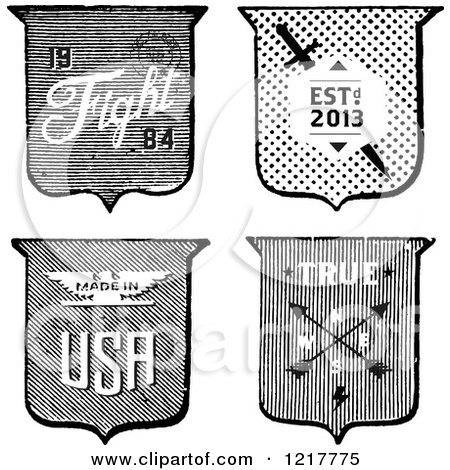 Clipart of a Black and White Shield Designs with Text - Royalty Free Vector Illustration by BestVector