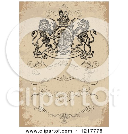 Clipart of a Distressed Lion and Unicorn Invitation with Swirls and Text Space - Royalty Free Vector Illustration by BestVector