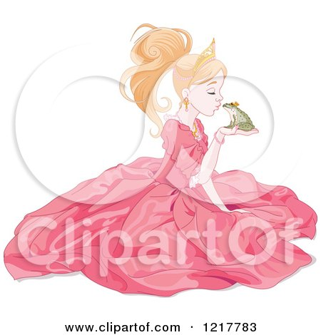 Clipart of a Princess Kissing a Frog Prince - Royalty Free Vector Illustration by Pushkin