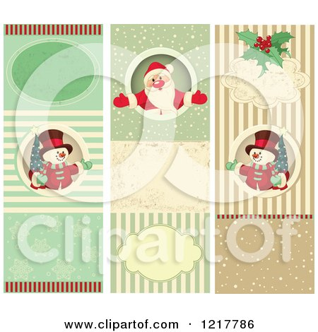 Clipart of Vertical Retro Snowman and Santa Christmas Backgrounds - Royalty Free Vector Illustration by Pushkin