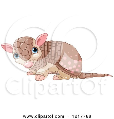 Clipart of a Cute Baby Armadillo - Royalty Free Vector Illustration by Pushkin