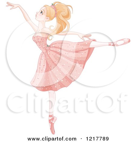 Clipart of a Beautiful Graceful Blond Ballerina on Her Toes - Royalty Free Vector Illustration by Pushkin