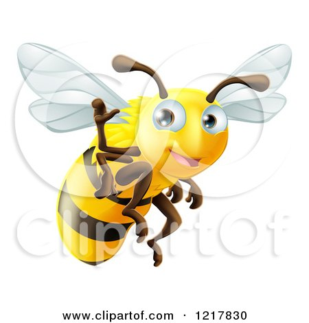 Clipart of a Cute Bee Waving and Flying - Royalty Free Vector Illustration by AtStockIllustration