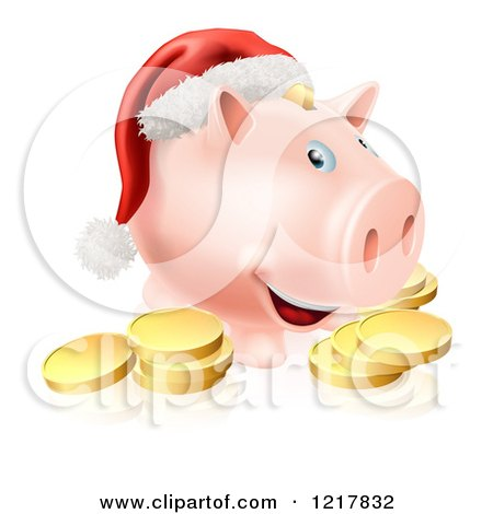 Clipart of a Christmas Piggy Bank Wearing a Santa Hat over Gold Coins - Royalty Free Vector Illustration by AtStockIllustration