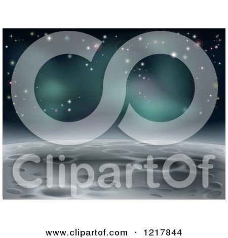Clipart of a Cratered Moon Landscape with Stars - Royalty Free Vector Illustration by AtStockIllustration