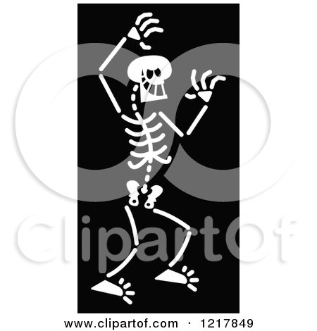 Clipart of a White Bad Skeleton on Black - Royalty Free Vector Illustration by Zooco