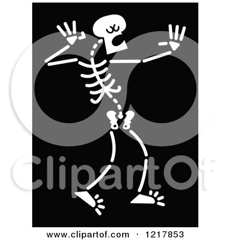 Clipart of a White Singing Skeleton on Black - Royalty Free Vector Illustration by Zooco