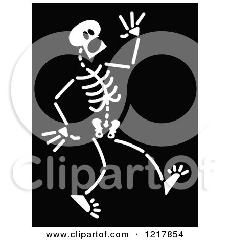 Clipart of a White Scared Skeleton on Black - Royalty Free Vector Illustration by Zooco
