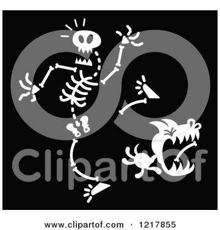 Clipart of a White Dog Stealing a Bone from a Skeleton on Black - Royalty Free Vector Illustration by Zooco