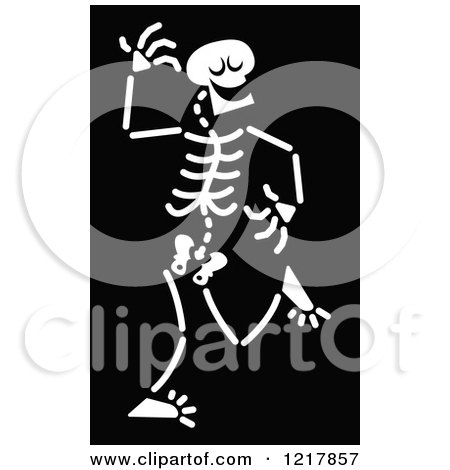 Clipart of a White Dancing Skeleton on Black - Royalty Free Vector Illustration by Zooco