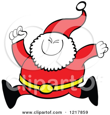 Clipart of Santa Claus Running - Royalty Free Vector Illustration by Zooco