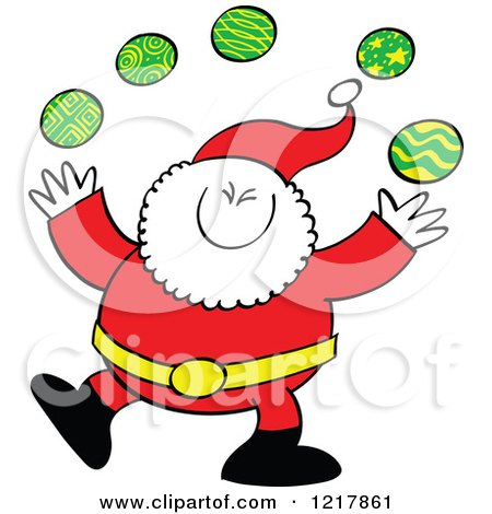 Clipart of Santa Claus Juggling Christmas Baubles - Royalty Free Vector Illustration by Zooco