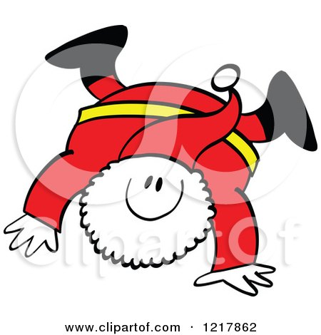 Clipart of Santa Claus Doing a Hand Stand - Royalty Free Vector Illustration by Zooco