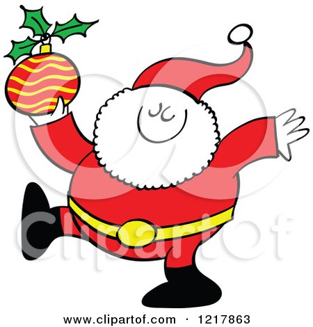 Clipart of Santa Claus Holding a Christmas Bauble - Royalty Free Vector Illustration by Zooco