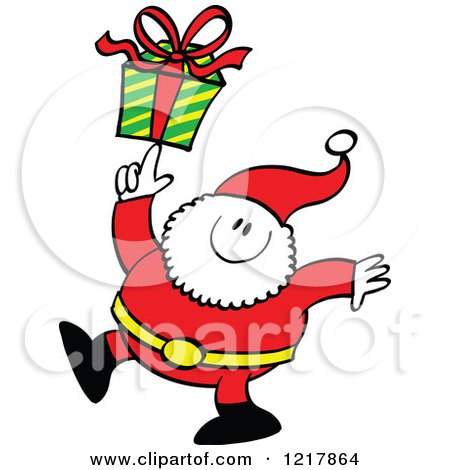 Clipart of Santa Claus Holding a Gift on His Finger - Royalty Free Vector Illustration by Zooco