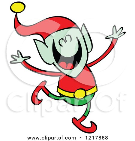 Clipart of a Christmas Elf Dancing - Royalty Free Vector Illustration by Zooco