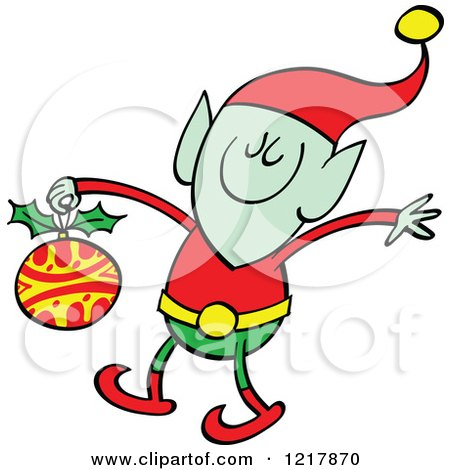 Clipart of a Christmas Elf Holding a Bauble - Royalty Free Vector Illustration by Zooco