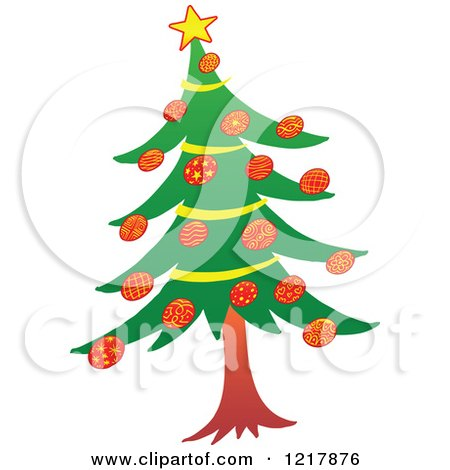 Clipart of a Trimmed Christmas Tree - Royalty Free Vector Illustration by Zooco