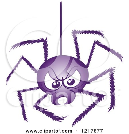 Clipart of a Bad Purple Spider Suspeneded - Royalty Free Vector Illustration by Zooco
