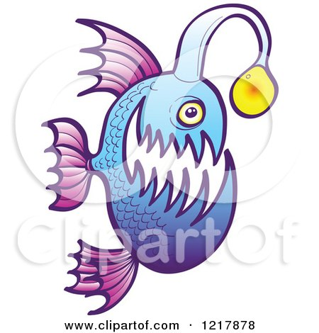 Clipart of a Purple and Blue Angler Fish - Royalty Free Vector Illustration by Zooco