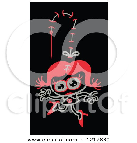 Clipart of a Stiched Zombie Woman - Royalty Free Vector Illustration by Zooco