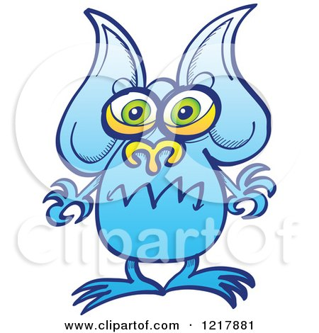 Clipart of a Worried Blue Alien - Royalty Free Vector Illustration by Zooco